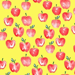 watercolor apples - yellow -  LAD19