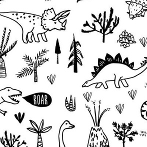 Happy Jurassic (black and white) MED