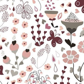 Say it with Flowers.... and mice and butterflies lol!-Pink and Grey