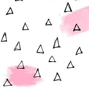 Pink brushstrokes + black triangles