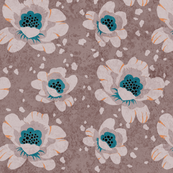 Dotted Peonies in light brown