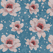 Dotted Peonies in blue