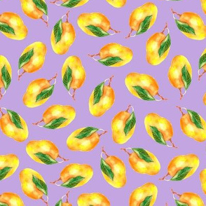 Watercolor mangoes on lavender background