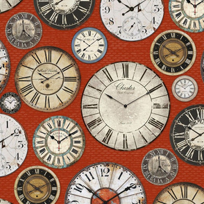 Vintage Clocks terracotta red