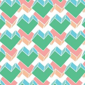 green pink geometrical hearts