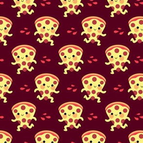 Cute running pizza slices