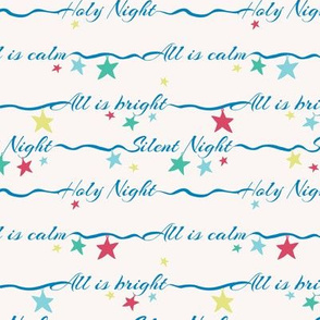 silent night lettering wit stars