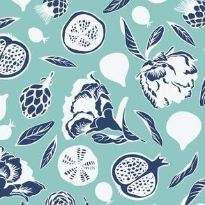 Blue white teal artichokes figs