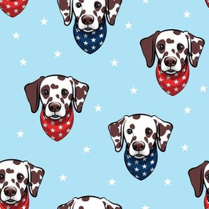 Dalmatian (brown spots) - patriotic - blue with stars - LAD19