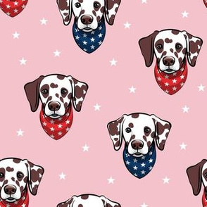 Dalmatian (brown spots) - patriotic - pink with stars - LAD19