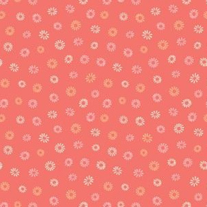 Pink yello ditsy floral on  coral