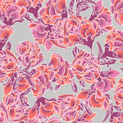 Bold coral pink chinoiserie flower