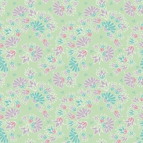 pastel green purple ditsy floral
