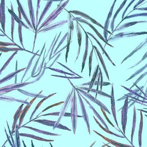 Palm leaves on tiffany blue • hand made watercolor