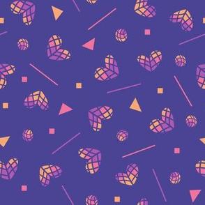 purple ombre rainbow memphis hearts