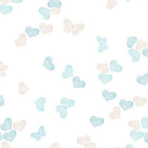 Ditsy Butterflies and Hearts - white - 2040211