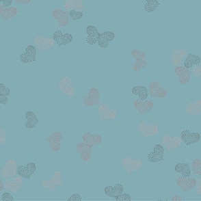 Ditsy Butterflies and Hearts - dusty blue - 2040212