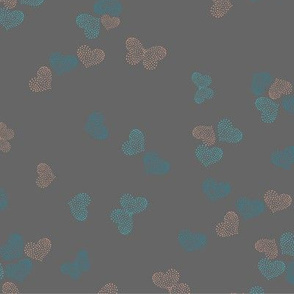 Ditsy Butterflies and Hearts - dark grey - 2040213