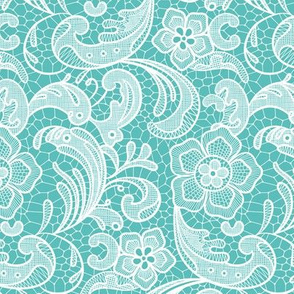 floral lace - white on teal