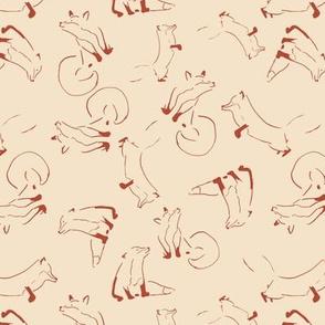fox lines seamless repeat pattern design.