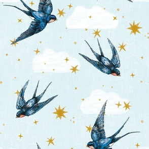 swallow bird in stars and cloud : gender neutral nursery large scale hand drawn bird
