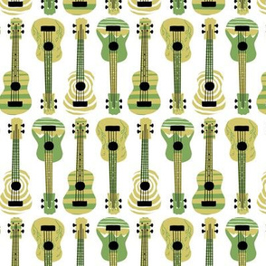 Green Ukuleles on White