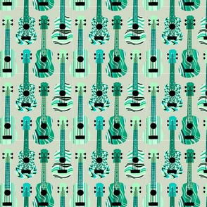 Turquoise Ukuleles on Grey