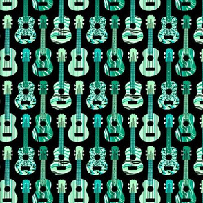 Turquoise Ukuleles on Black