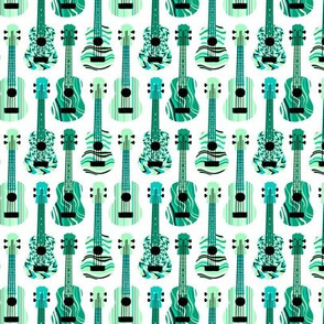 Turquoise Ukuleles on White