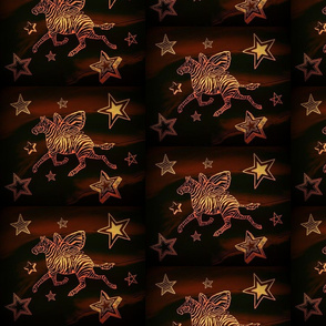 Gold Zebra fly with Stars on swirly brown black background