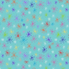 Loopy Flowers - multicolor on aqua - small