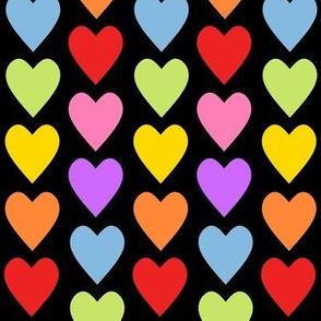 Heart Rainbow Colors Black
