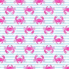 "(3/4"" scale) crabs - pink on blue stripes C19BS"