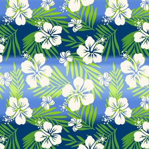 Hawaiian Tie Dye Blend Tropical Hibiscus - Blue