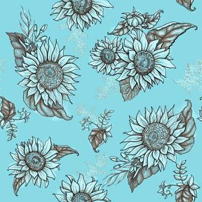 Vintage Sunflower Turquoise