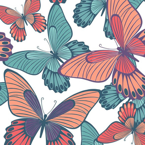 Coral color and turqoise butterflies on white