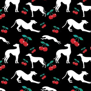 Greyt Cherry Greyhound Jumble on Black