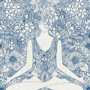 lotus garden vintage blue