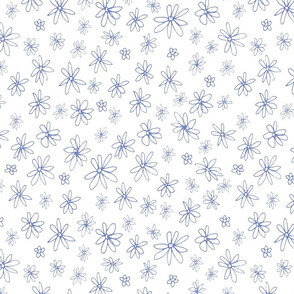Loopy Flowers - periwinkle on white - small-01