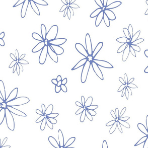 Loopy Flowers - periwinkle on white - large-01