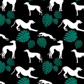 Greyt Greyhound Monstera Jumble on Black