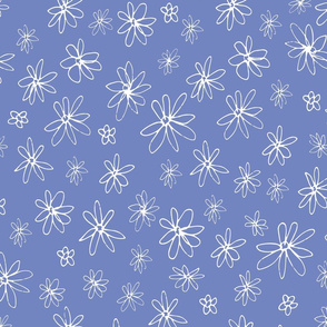 Loopy Flowers - white on periwinkle - medium