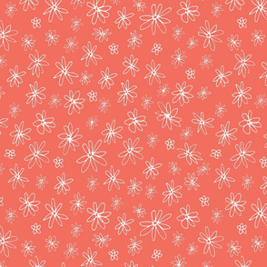 Loopy Flowers - white on coral - small