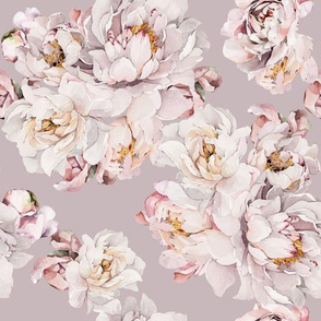 Watercolor White Peony Grey- 030