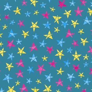 Stars - pan colours - dark teal background