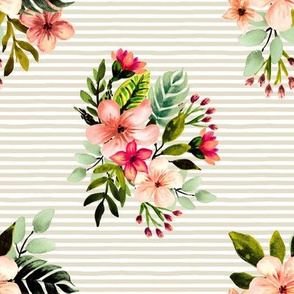 Hawaiian Tropical Bouquet // Sand Stripes