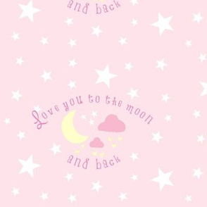 Love you to the moon 7-baby pink