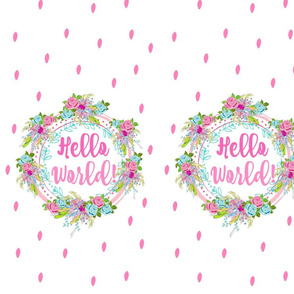 hello world -shabby floral polka-pink