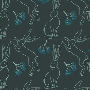 Hares and Rowan - dark green and blue