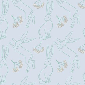 Hares and Rowan - Ghostly Pale Blue Green and Gold